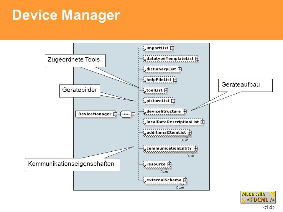Device Manager Kommunikationseigenschaften Zugeordnete Tools Gerätebilder Geräteaufbau