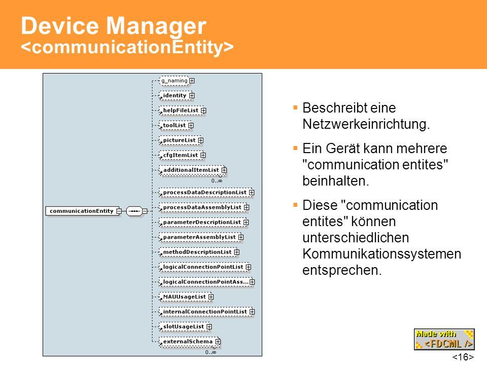 Device Manager Beschreibt eine Netzwerkeinrichtung. Ein Gerät kann mehrere