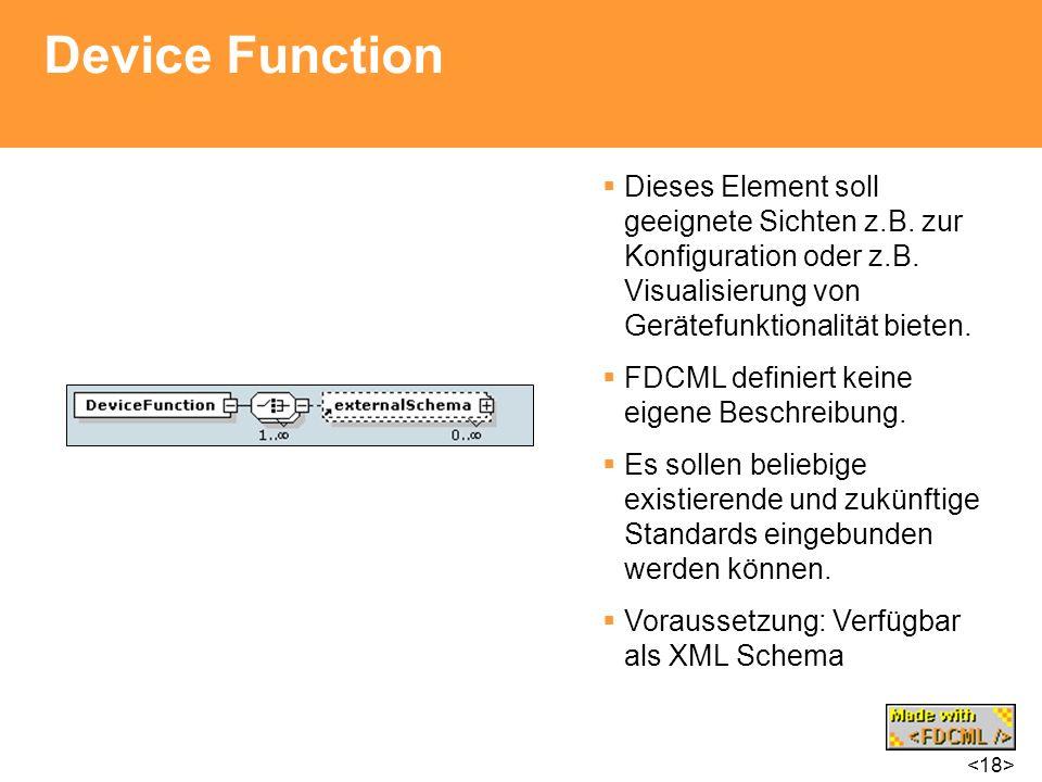 Device Function Dieses Element soll geeignete Sichten z.B. zur Konfiguration oder z.B. Visualisierung von Gerätefunktionalität bieten. FDCML definiert