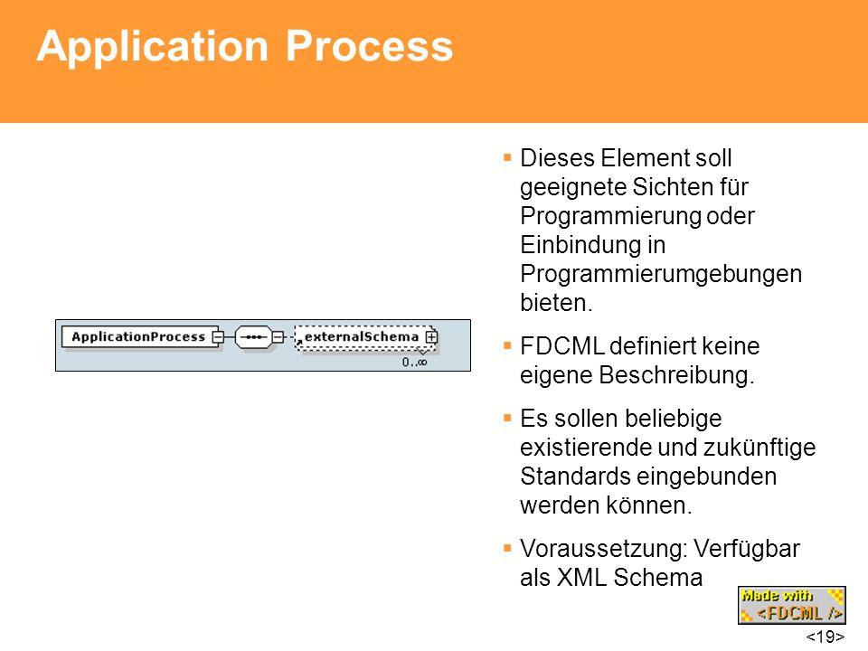 Application Process Dieses Element soll geeignete Sichten für Programmierung oder Einbindung in Programmierumgebungen bieten. FDCML definiert keine ei