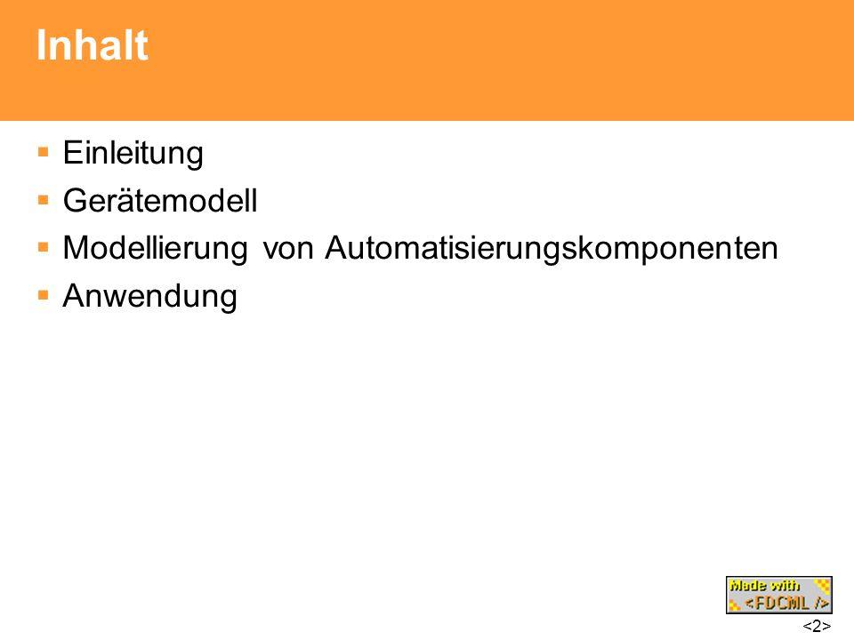 Inhalt Einleitung Gerätemodell Modellierung von Automatisierungskomponenten Anwendung