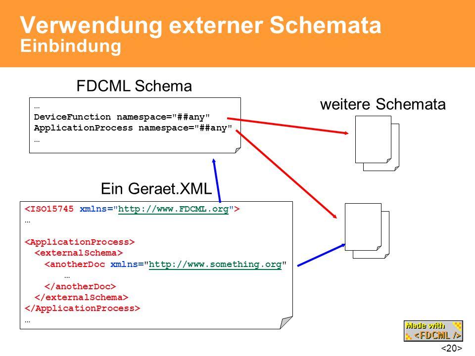 Verwendung externer Schemata Einbindung … DeviceFunction namespace=