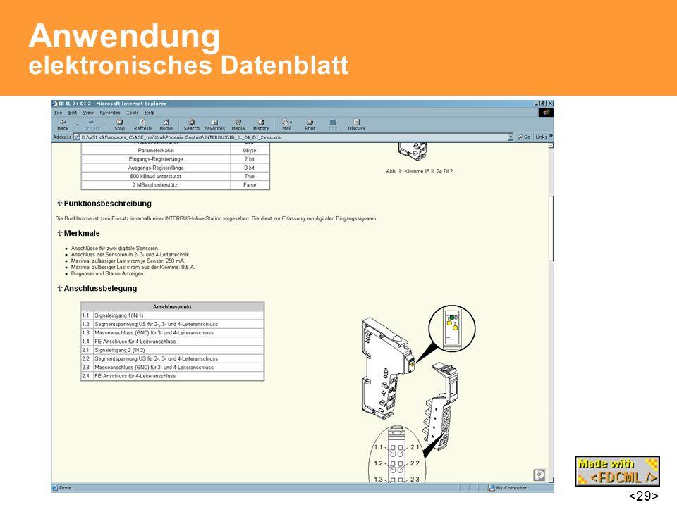 Anwendung elektronisches Datenblatt