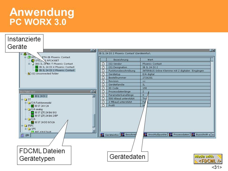 Anwendung PC WORX 3.0 FDCML Dateien Gerätetypen Instanzierte Geräte Gerätedaten