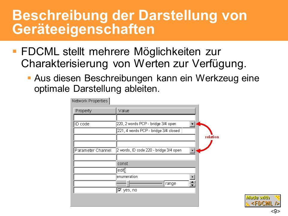 Beschreibung der Darstellung von Geräteeigenschaften FDCML stellt mehrere Möglichkeiten zur Charakterisierung von Werten zur Verfügung. Aus diesen Bes