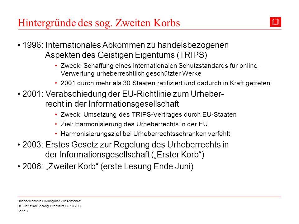 Dr. Christian Sprang, Frankfurt, 06.10.2006 Seite 3 Urheberrecht in Bildung und Wissenschaft Hintergründe des sog. Zweiten Korbs 1996: Internationales