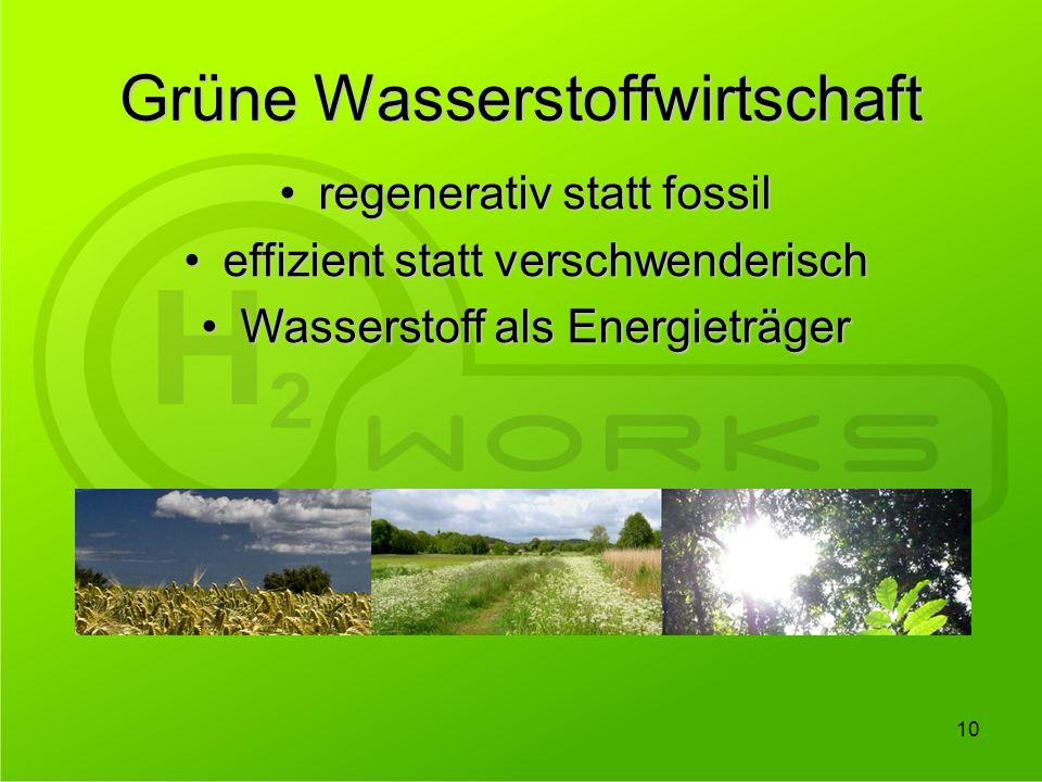 Grüne Wasserstoffwirtschaft 10 regenerativ statt fossilregenerativ statt fossil effizient statt verschwenderischeffizient statt verschwenderisch Wasse
