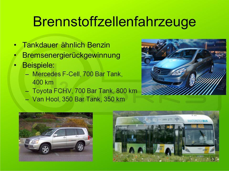 Brennstoffzellenfahrzeuge Tankdauer ähnlich Benzin Bremsenergierückgewinnung Beispiele: –Mercedes F-Cell, 700 Bar Tank, 400 km –Toyota FCHV, 700 Bar T