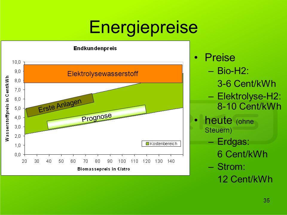 Energiepreise Erste Anlagen Prognose Preise –Bio-H2: 3-6 Cent/kWh –Elektrolyse-H2: 8-10 Cent/kWh heute (ohne Steuern) –Erdgas: 6 Cent/kWh –Strom: 12 C