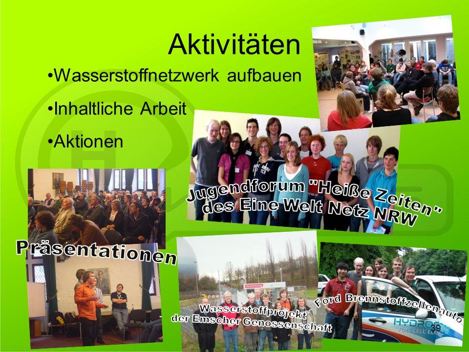 Aktivitäten Wasserstoffnetzwerk aufbauen Inhaltliche Arbeit Aktionen 39