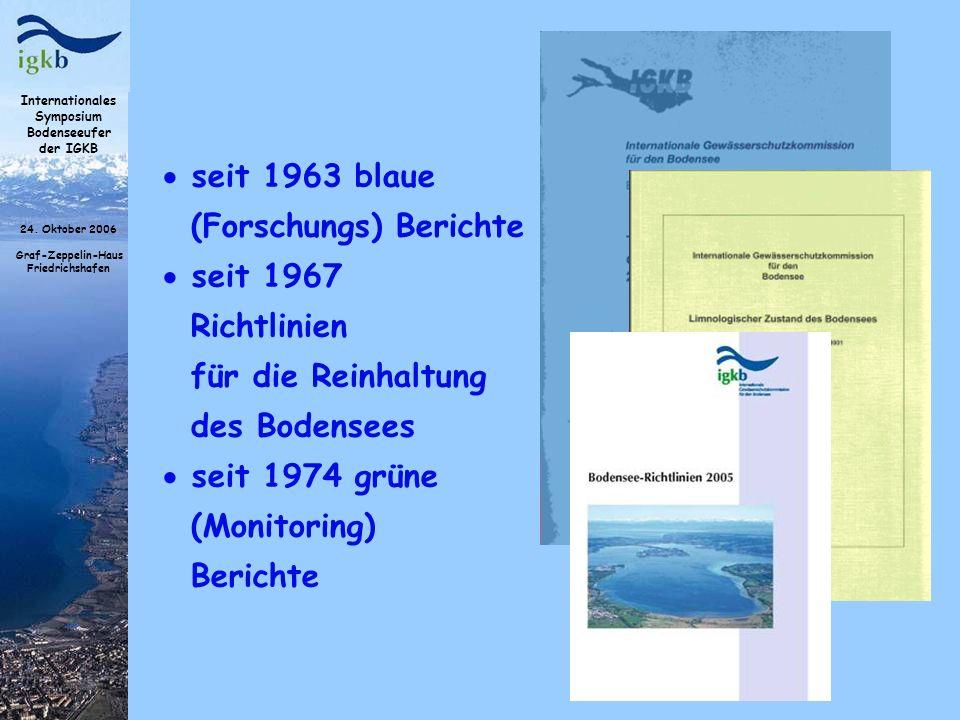 Internationales Symposium Bodenseeufer der IGKB 24. Oktober 2006 Graf-Zeppelin-Haus Friedrichshafen seit 1963 blaue (Forschungs) Berichte seit 1967 Ri