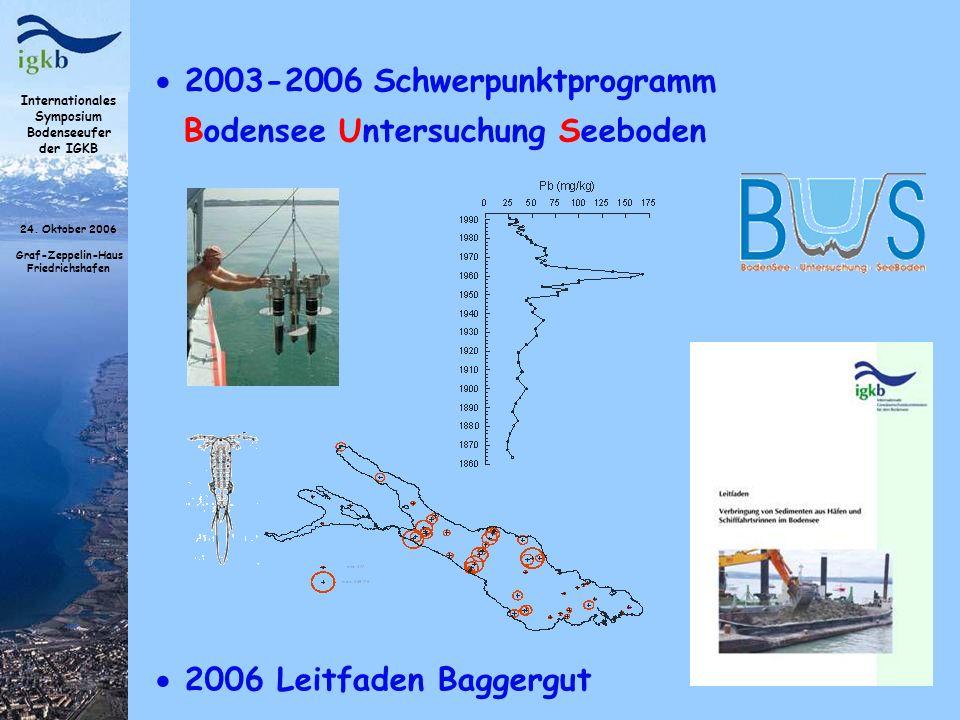 Internationales Symposium Bodenseeufer der IGKB 24. Oktober 2006 Graf-Zeppelin-Haus Friedrichshafen 2003-2006 Schwerpunktprogramm Bodensee Untersuchun