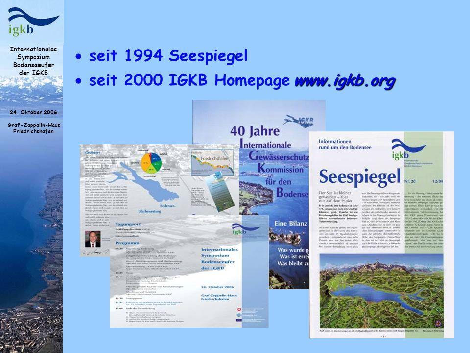 Internationales Symposium Bodenseeufer der IGKB 24. Oktober 2006 Graf-Zeppelin-Haus Friedrichshafen seit 1994 Seespiegel www.igkb.org seit 2000 IGKB H