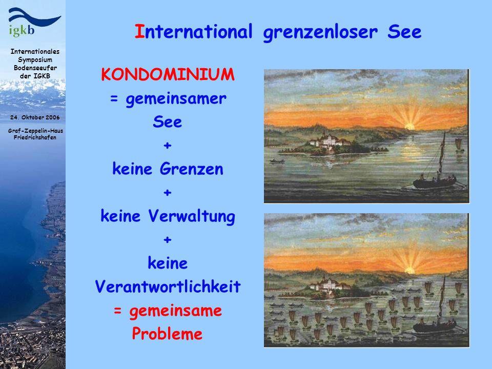 Internationales Symposium Bodenseeufer der IGKB 24. Oktober 2006 Graf-Zeppelin-Haus Friedrichshafen International grenzenloser See KONDOMINIUM = gemei