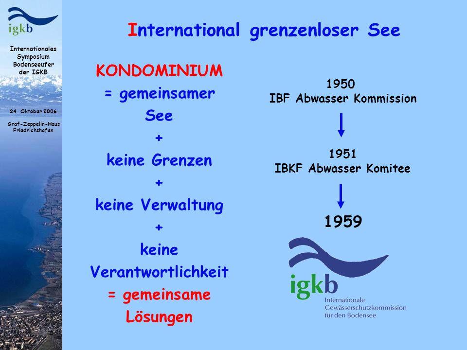 Internationales Symposium Bodenseeufer der IGKB 24. Oktober 2006 Graf-Zeppelin-Haus Friedrichshafen International grenzenloser See 1950 IBF Abwasser K
