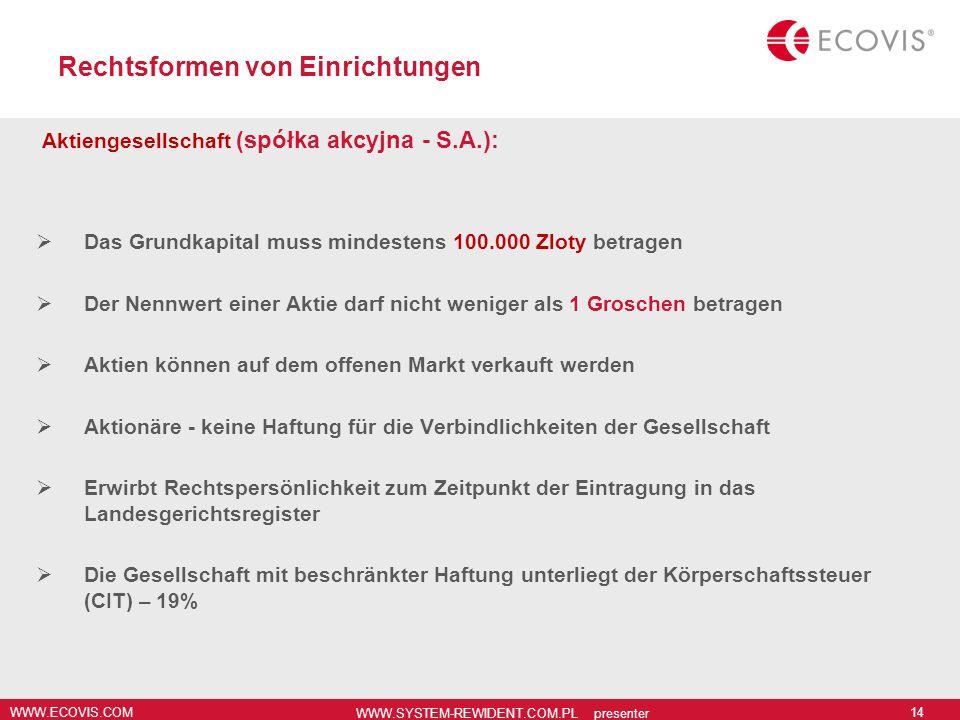 WWW.ECOVIS.COM WWW.SYSTEM-REWIDENT.COM.PL presenter 14 Rechtsformen von Einrichtungen Aktiengesellschaft (spółka akcyjna - S.A.): Das Grundkapital mus
