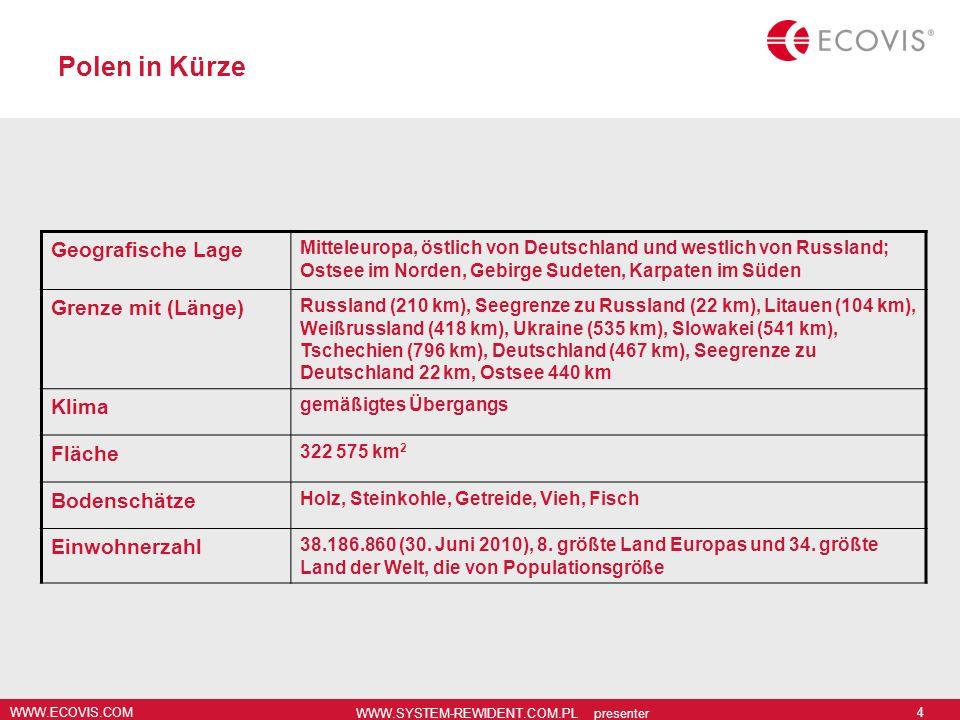 WWW.ECOVIS.COM WWW.SYSTEM-REWIDENT.COM.PL presenter 5 Poland in brief Zeitzone UTC+1 MEZ UTC+2 MESZ (März bis Oktober) Politisches System parlamentarische Demokratie Verwaltungsgliederung Seit dem 1.