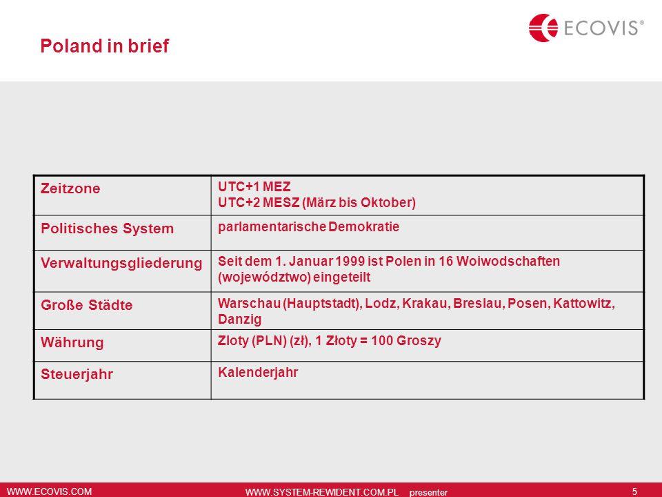 WWW.ECOVIS.COM WWW.SYSTEM-REWIDENT.COM.PL presenter 5 Poland in brief Zeitzone UTC+1 MEZ UTC+2 MESZ (März bis Oktober) Politisches System parlamentari