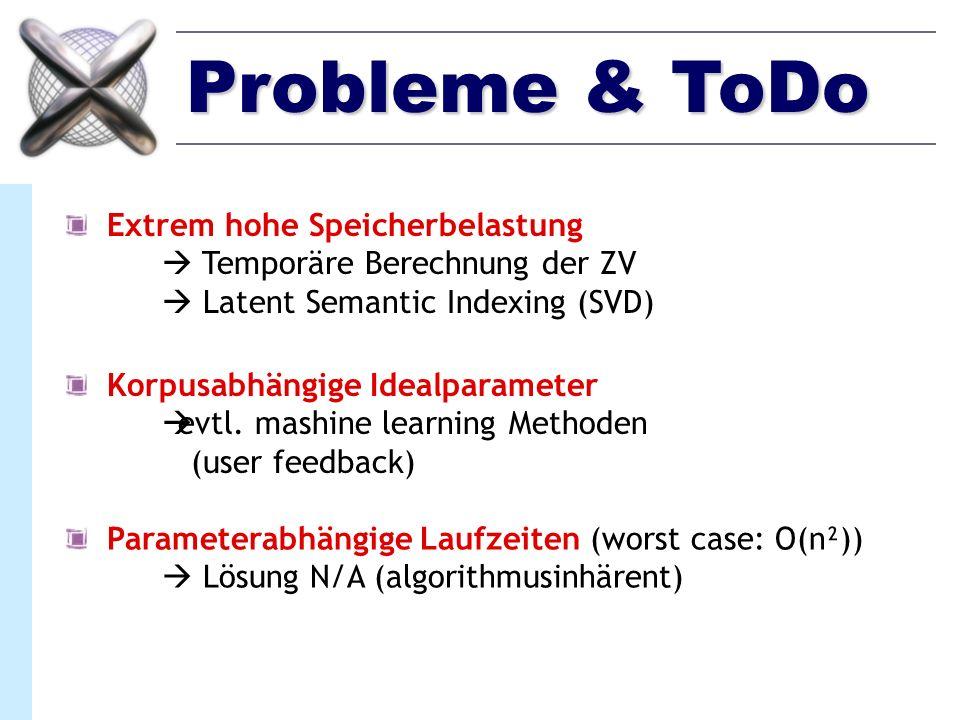 Probleme & ToDo Extrem hohe Speicherbelastung Temporäre Berechnung der ZV Latent Semantic Indexing (SVD) Korpusabhängige Idealparameter evtl. mashine