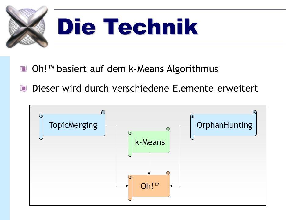 Die Technik Oh! basiert auf dem k-Means Algorithmus Dieser wird durch verschiedene Elemente erweitert TopicMergingOrphanHunting k-Means Oh!