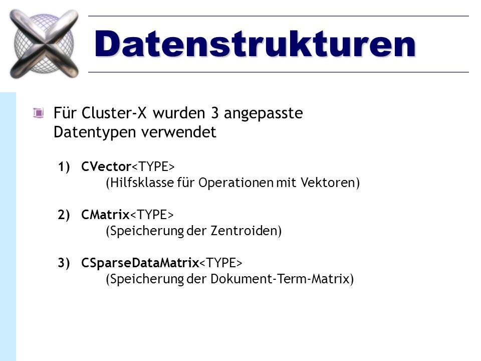 SparseDataMatrix CSparseDataMatrix ist auf Speicherung von Matrizen mit überwiegend nicht verwendeten Elementen zugeschnitten (0-Werte) OriginalmatrixSparseDataMatrix Beispielersparniss: Dokument-Term-Matrix (Bibel-Korpus) Originalmatrix: >10.000 KByte SparseDataMatrix: 880 KByte