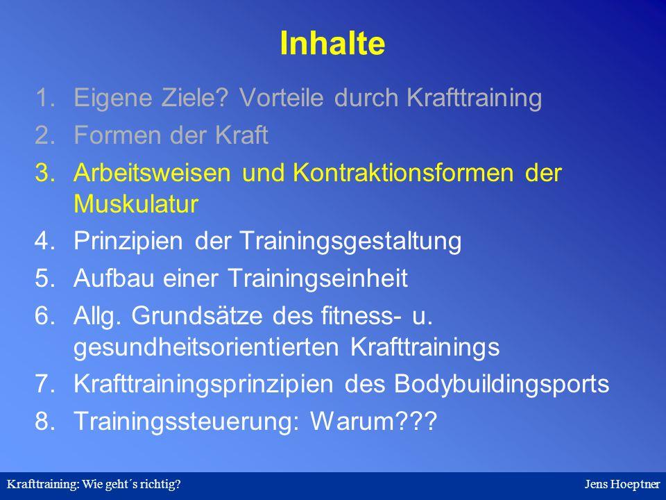 Krafttraining: Wie geht´s richtig.Jens Hoeptner 8.