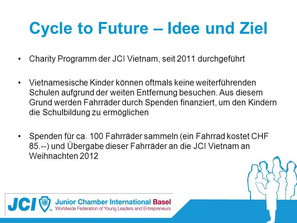 Cycle to Future – Idee und Ziel Charity Programm der JCI Vietnam, seit 2011 durchgeführt Vietnamesische Kinder können oftmals keine weiterführenden Sc
