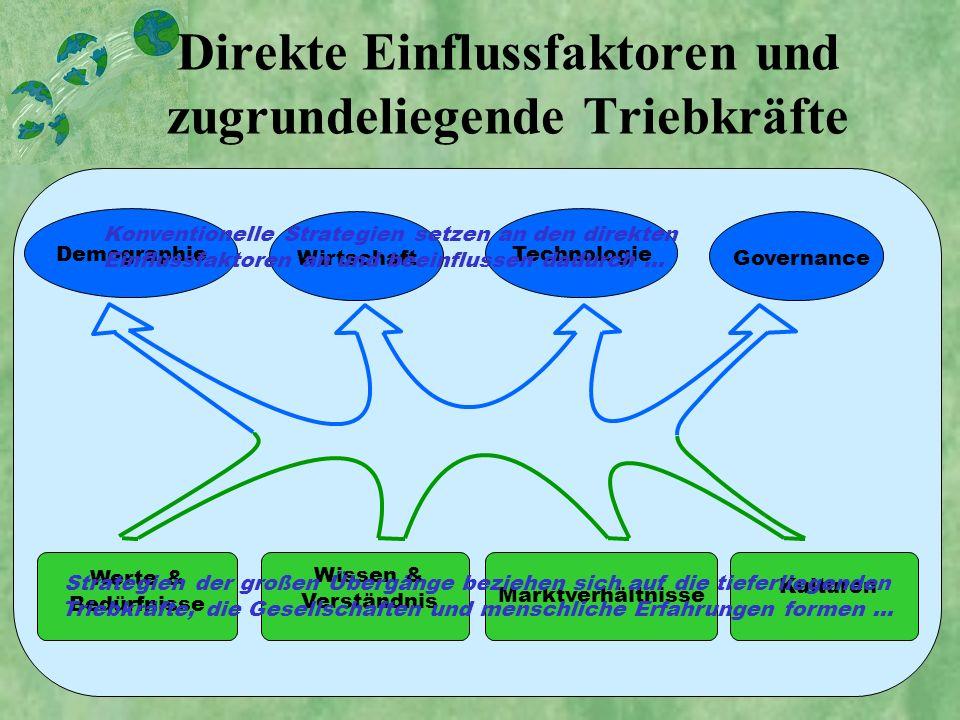 Direkte Einflussfaktoren und zugrundeliegende Triebkräfte Wissen & Verständnis Marktverhältnisse Kulturen Werte & Bedürfnisse DemographieWirtschaftTec