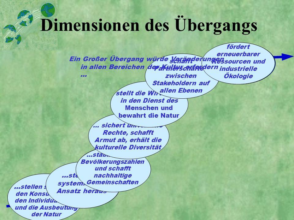 Dimensionen des Übergangs Wertorientierungen Wissens-Übergang Demographischer Übergang gesellschaftlicher Übergang Wirtschafs- Übergang Governance- Üb