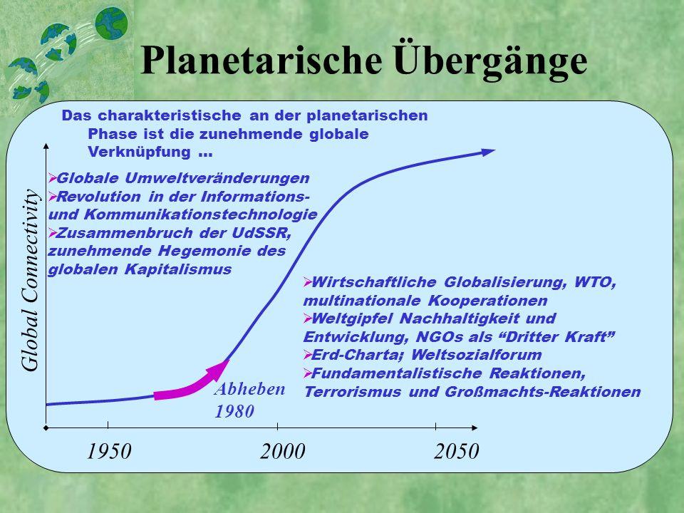 Global Connectivity 1950 2000 2050 Planetarische Übergänge Globale Umweltveränderungen Revolution in der Informations- und Kommunikationstechnologie Z