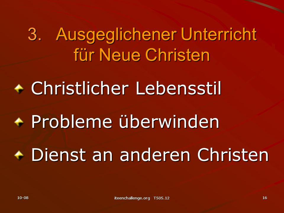 Christlicher Lebensstil Christlicher Lebensstil Probleme überwinden Probleme überwinden Dienst an anderen Christen Dienst an anderen Christen 3.Ausgeg