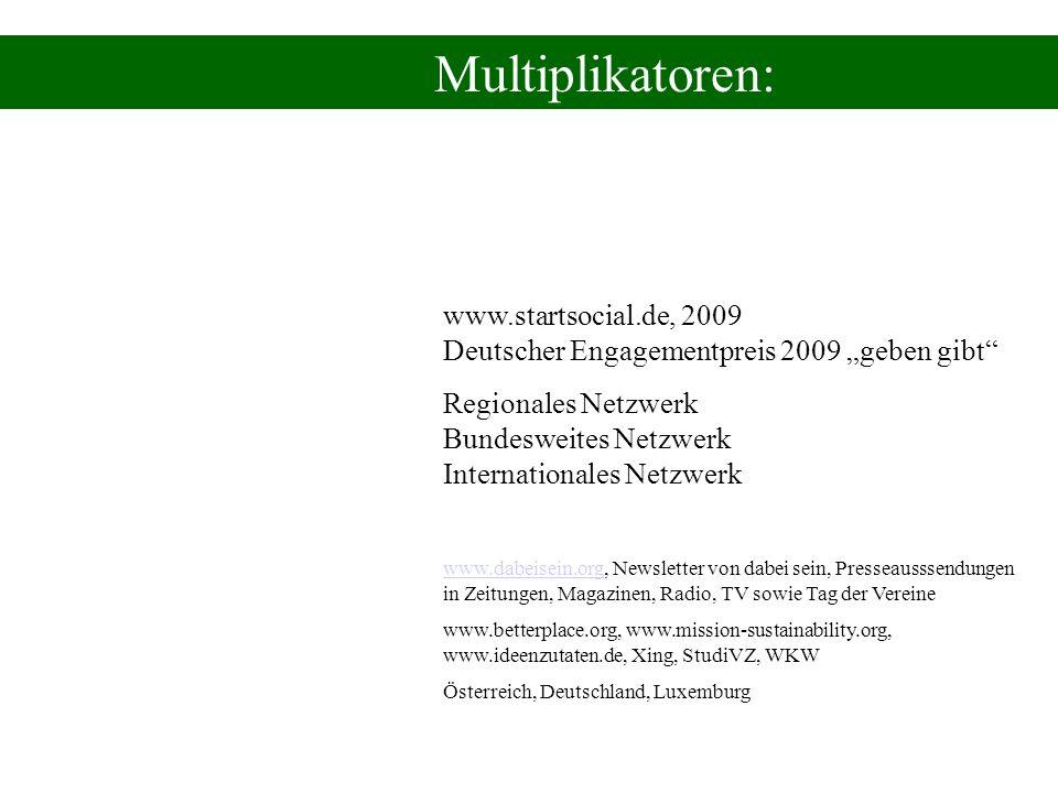 Multiplikatoren: www.startsocial.de, 2009 Deutscher Engagementpreis 2009 geben gibt Regionales Netzwerk Bundesweites Netzwerk Internationales Netzwerk