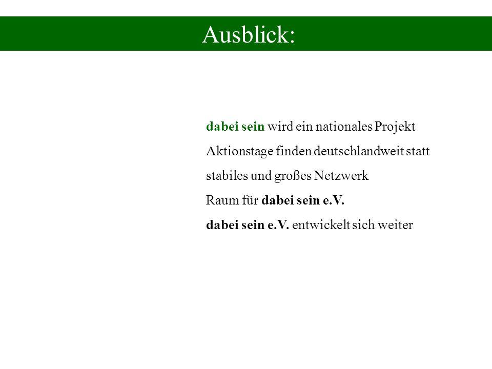 Ausblick: dabei sein wird ein nationales Projekt Aktionstage finden deutschlandweit statt stabiles und großes Netzwerk Raum für dabei sein e.V. dabei