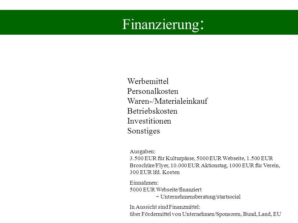 Finanzierung : Werbemittel Personalkosten Waren-/Materialeinkauf Betriebskosten Investitionen Sonstiges Ausgaben: 3.500 EUR für Kulturpässe, 5000 EUR