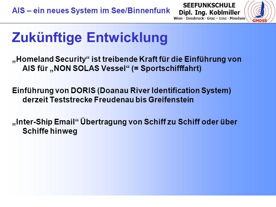SEEFUNKSCHULE Dipl. Ing. Koblmiller Wien - Innsbruck - Graz – Linz - Mondsee AIS – ein neues System im See/Binnenfunk Zukünftige Entwicklung Homeland