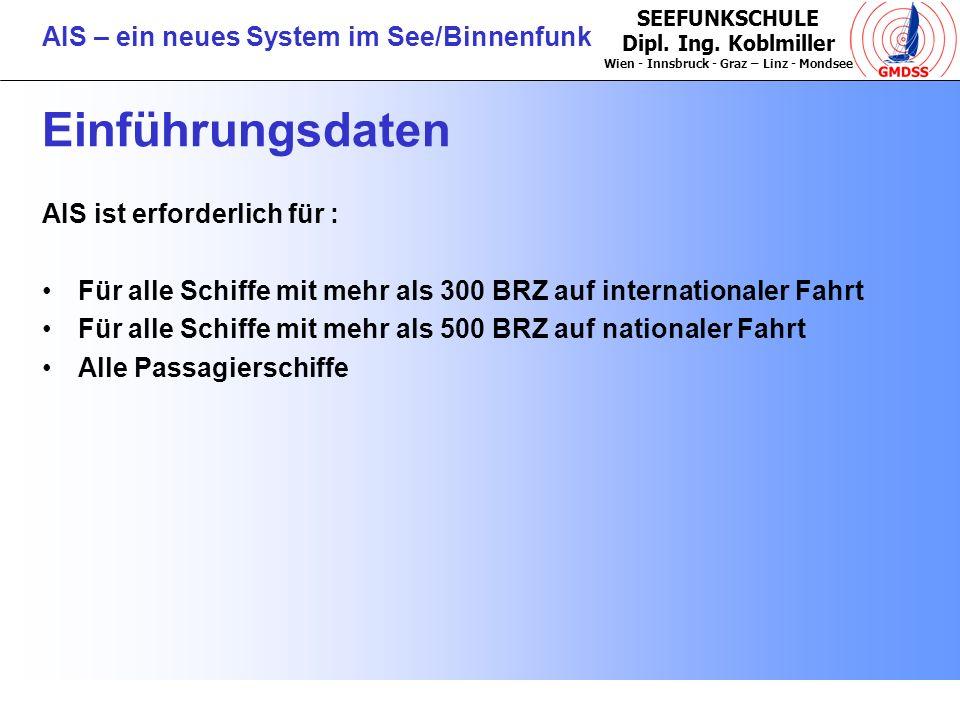 SEEFUNKSCHULE Dipl. Ing. Koblmiller Wien - Innsbruck - Graz – Linz - Mondsee AIS – ein neues System im See/Binnenfunk Einführungsdaten AIS ist erforde