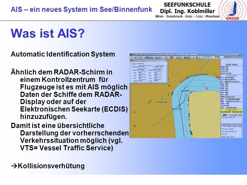 SEEFUNKSCHULE Dipl. Ing. Koblmiller Wien - Innsbruck - Graz – Linz - Mondsee AIS – ein neues System im See/Binnenfunk Was ist AIS? Automatic Identific