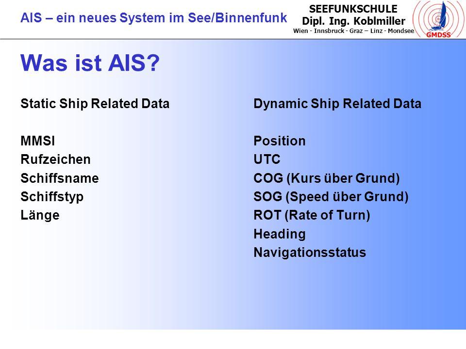 SEEFUNKSCHULE Dipl. Ing. Koblmiller Wien - Innsbruck - Graz – Linz - Mondsee AIS – ein neues System im See/Binnenfunk Was ist AIS? Static Ship Related