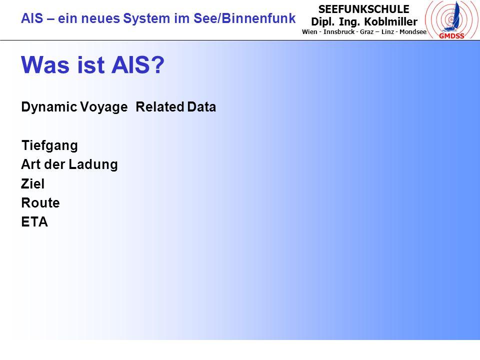 SEEFUNKSCHULE Dipl. Ing. Koblmiller Wien - Innsbruck - Graz – Linz - Mondsee AIS – ein neues System im See/Binnenfunk Was ist AIS? Dynamic Voyage Rela