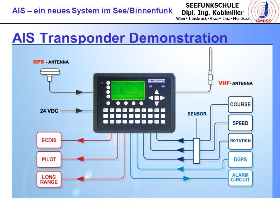 SEEFUNKSCHULE Dipl. Ing. Koblmiller Wien - Innsbruck - Graz – Linz - Mondsee AIS – ein neues System im See/Binnenfunk AIS Transponder Demonstration