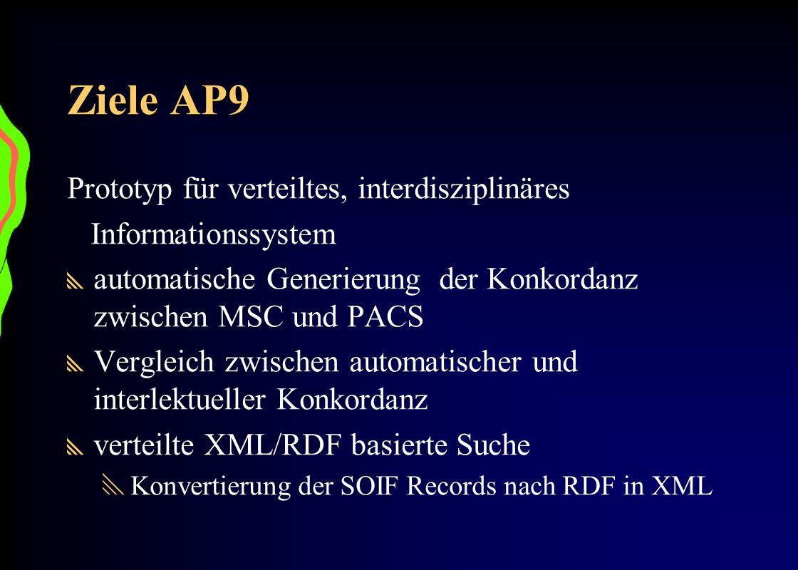 Ziele AP9 Prototyp für verteiltes, interdisziplinäres Informationssystem automatische Generierung der Konkordanz zwischen MSC und PACS Vergleich zwisc