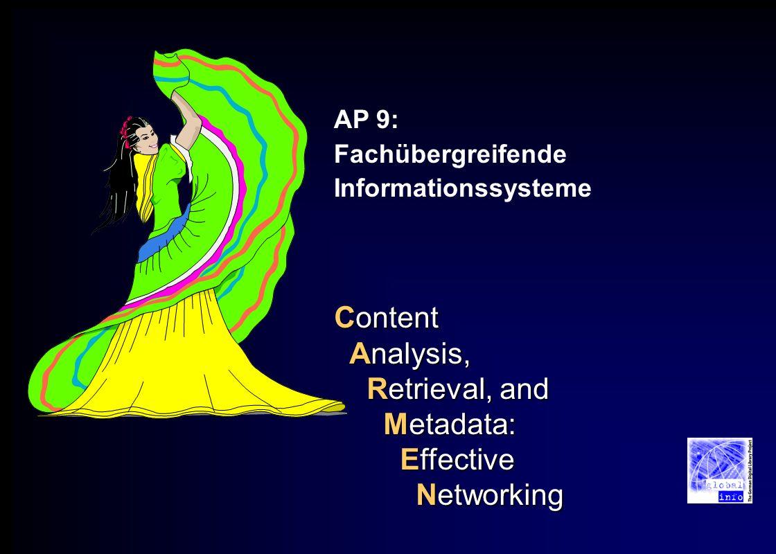 Content Analysis, Retrieval, and Metadata: Effective Networking AP 9: Fachübergreifende Informationssysteme