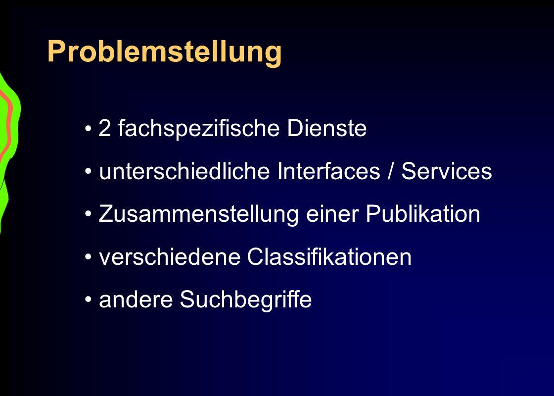 Problemstellung 2 fachspezifische Dienste unterschiedliche Interfaces / Services Zusammenstellung einer Publikation verschiedene Classifikationen ande