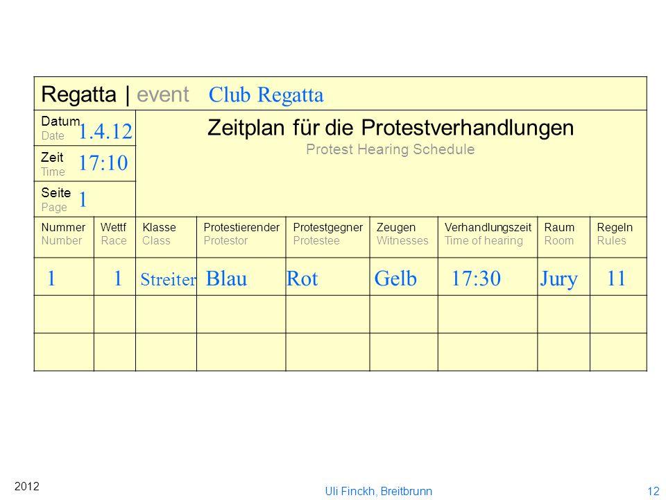 11 2012 Uli Finckh, Breitbrunn Formulareingang vermerken Schiedsgericht verständigen Aushang über Ort und Zeit der Verhandlung Eingereicht im Wettfahr
