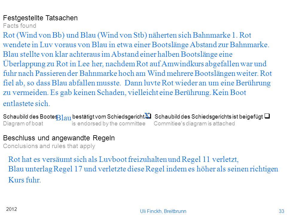 32 2012 Uli Finckh, Breitbrunn Bekanntgabe Ich verlese Ihnen nun unseren Beschluss. Sie können davon anschließend eine Kopie haben.