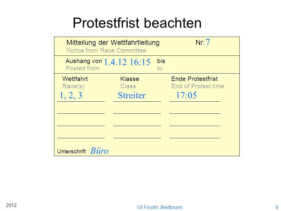 8 2012 Uli Finckh, Breitbrunn SCHAUBILD (falls notwendig weiteres Blatt verwenden) Diagram: (use another sheet if necessary) Ein Kästchen entpricht ei