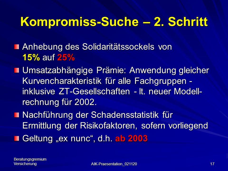 Beratungsgremium Versicherung AIK-Praesentation_021120 16 Umsatzformel 2002 - neu: einheitliche Formel für den nach Umsatz zu ermittelnden Anteil an d