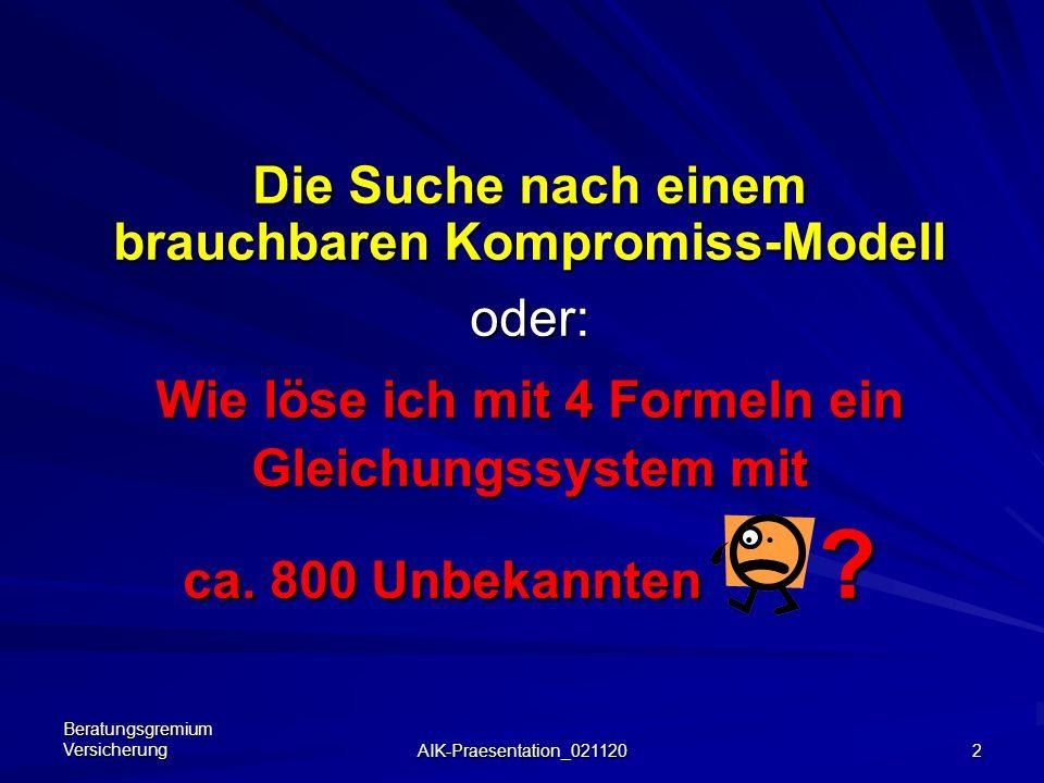 Beratungsgremium Versicherung AIK-Praesentation_021120 2 Die Suche nach einem brauchbaren Kompromiss-Modell oder: Wie löse ich mit 4 Formeln ein Gleichungssystem mit ca.