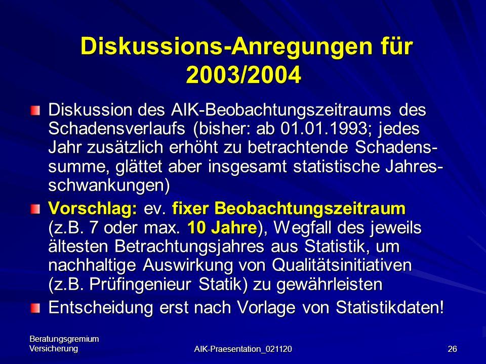 Beratungsgremium Versicherung AIK-Praesentation_021120 25 Beispiel: Entwicklung RF Vermesser 2000 2001 Im Beobachtungsjahr 2001 Wegfall eines einzigen