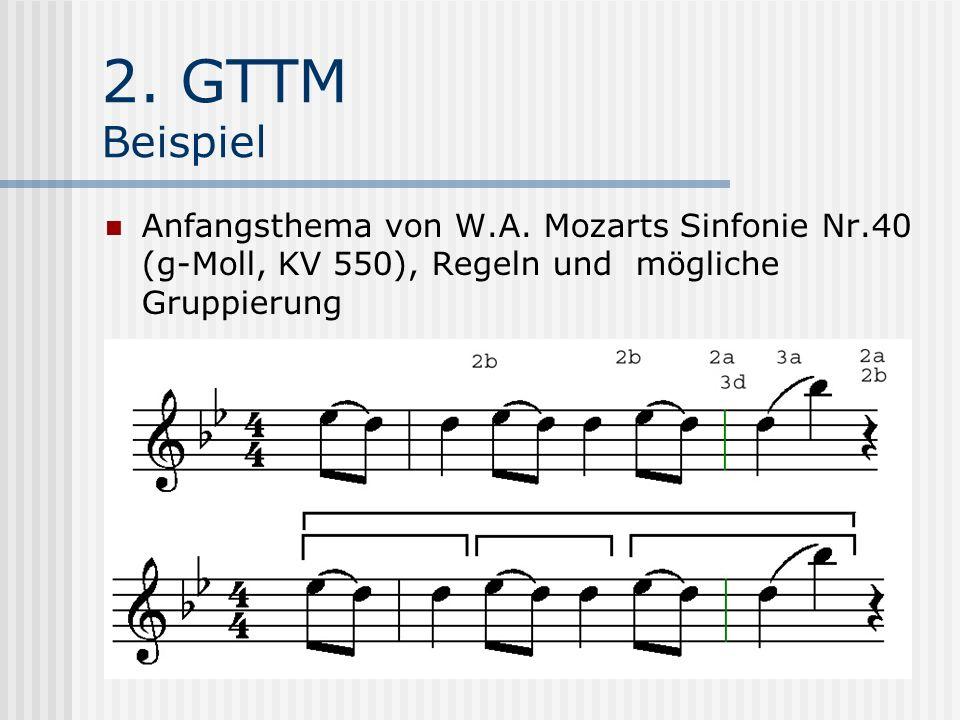 2. GTTM Beispiel Anfangsthema von W.A. Mozarts Sinfonie Nr.40 (g-Moll, KV 550), Regeln und mögliche Gruppierung